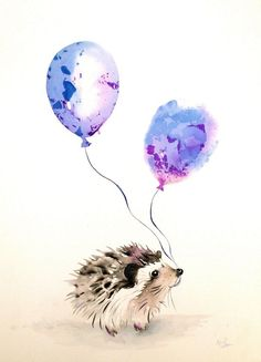 """Party hedgehog by Kristina Broza Watercolor painting """" Illustration painting of happy baby hedgehog ready for the party. Art Aquarelle, Watercolor Drawing, Watercolor Animals, Painting & Drawing, Watercolor Paintings, Original Paintings, Original Art, Animal Paintings, Animal Drawings"""