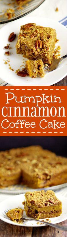 Rich and moist Pumpkin Cinnamon Coffee Cake recipe made with pumpkin pie yogurt, pumpkin, and a crunchy cinnamon-pecan streusel for an amazing Fall breakfast recipe. Also freezer friendly! OMG. Pumpkin spice for breakfast?!