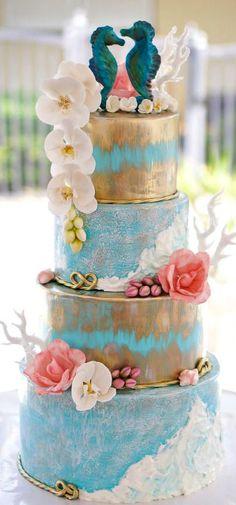 Indian Weddings Inspirations. Ocean theme Wedding Cake. Repinned by #indianweddingsmag indianweddingsmag.com #weddingcake