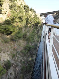 Going through the Corinth Canal, Greece