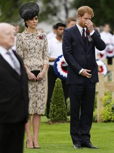 Prince Harry and Catherine, Duchess of Cambridge attend a service to mark the 100th anniversary of the beginning of the Battle of the Somme at the Thiepval memorial to the Missing on July 1, 2016 in Thiepval, France.