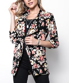 Milly Penzance Black Floral Blazer - Women & Plus Blazer Floral, Sophisticated Style, Blazers For Women, That Look, Kimono Top, Sleeves, Pattern, High Point, Black