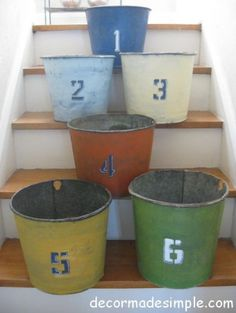 Painted Old Galvanized Buckets eclectic baskets