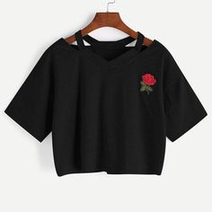Shop Cut Out V Neckline Rose Patch Slub Tee online. SheIn offers Cut Out V Neckline Rose Patch Slub Tee & more to fit your fashionable needs. Cropped Tops, Cute Crop Tops, Cut Up Shirts, Casual T Shirts, Ripped Shirts, Rose Shirts, Black Shirts, Short Shirts, Short Tops