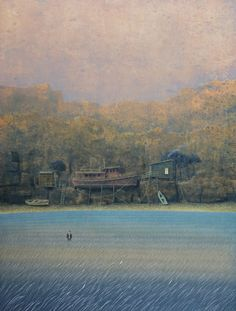 """Philippe Charles Jacquet, Les échoués, 2015, Oil On Board, 48"""" x 35½""""  #art #surreal #axelle #water #field #boat #house #cliff"""
