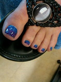 blue sparkle pedicure , nail art