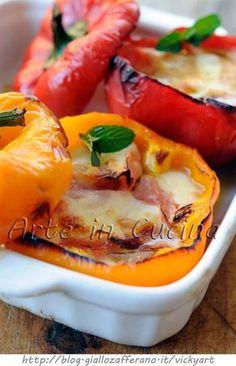Peperoni ripieni con provola e prosciutto vickyart arte in cucina