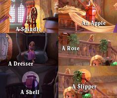There are several imageshidden throughoutTangled that are thought to bereferences to previous Disney Princesses. A spindle for Aurora, an apple for Snow White, a dresser that looks very much like Belle's, a rose for either Aurora (Briar Rose) or Belle, a shell for Ariel (or some think it's a peacock for Jasmine), and a slipper for Cinderella.