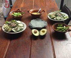 Verduras al vapor con gee y sal de mar: chayote y brocoli. Ensalada verde con aderezo de mandarina. Acompañado de tortilla de maiz morado organico y natural ;-)