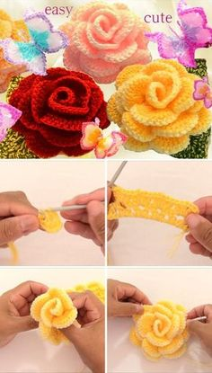 Crochet Puff Flower Roses Butterfly Flower Crochet Free Pattern Video Tutorial - Rose crochet flowers are so beautiful and I use them everywhere in my house! And, this rose crochet flower is as beautiful as the original flower. Roses Au Crochet, Crochet Puff Flower, Crochet Flower Tutorial, Crochet Motifs, Crochet Flowers, Diy Flowers, Rose Tutorial, Rose Flowers, Yarn Flowers