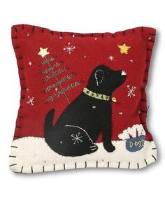 Look what I found on #zulily! Red Christmas Dog Felt Pillow #zulilyfinds