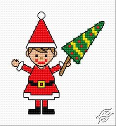 A Wife Of Santa With Christmas Tree - Free Cross Stitch Pattern