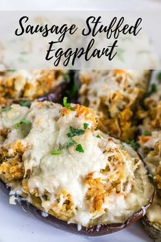 Sausage Stuffed Eggplant - eggplants are roasted, stuffed with a tasty sausage and tomato mixture, topped with mozzarella cheese, and baked until the cheese is bubbly and melted. These personal eggplant boats make an amazing Sunday dinner when paired with Sausage Recipes, Pork Recipes, Veggie Recipes, Dinner Recipes, Cooking Recipes, Healthy Recipes, Dinner Ideas, Lunch Ideas, Healthy Meals