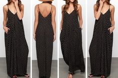 Stunning polka dot maxi dress, and the best part is that is has Pockets! Light weight and flowy!