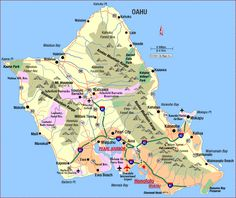 Road Map of Oahu, Hawaii. On first trip maybe take a guided tour, but on a second trip to Oahu I highly recommend renting a car and going around the whole island. Don't forget to stop for some famous shaved ice. Honolulu Hawaii, Aloha Hawaii, Hawaii Travel, Kauai, Travel Usa, Hawaii Pics, Hawaii 2017, Hawaii Beach, Spain Travel