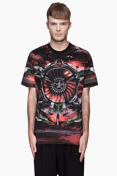 Givenchy Red Airplane Print Star-embroidered T-shirt for men | SSENSE