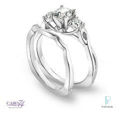 Caro 74 platinum and diamond wedding ring set.  #tonerjewelers