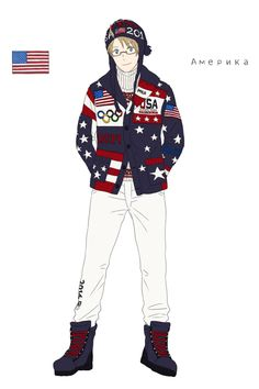 Alfred in the American athletes' uniform from the Opening Ceremonies of the 2014 Sochi Winter Olympic Games - Art by toxicell.tumblr.com