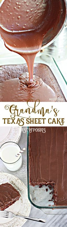 A rich & moist homemade chocolate cake & frosting, and a surprise mild spice to push it over the top! Try Grandma's Texas Sheet Cake recipe, you'll love it. Food Cakes, Cupcake Cakes, Cake Cookies, Köstliche Desserts, Dessert Recipes, Grandma's Recipes, Recipies, Chocolate Cake Frosting, Cooking