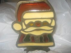 Vintage Christmas Tiffany Santa tealight candle lamp #tiffany #Holiday