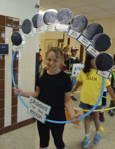 The word costume is: PHASES (of the MOON), a hula-hoop becomes the support for a Miss Alaineus Vocabulary Parade entry. Free Parade Directions at debrafrasier.com: transform your Halloween Parade and build vocabulary school-wide!