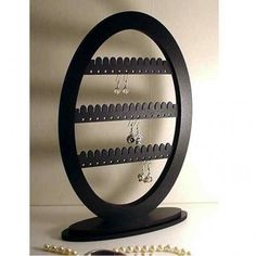 Earring Stand Jewelry Rack Holder  with base, All Black Oval, 39 pairs | LarkStudios - Jewelry on ArtFire