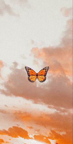 Butterfly Wallpaper Iphone, Cartoon Wallpaper Iphone, Iphone Wallpaper Tumblr Aesthetic, Homescreen Wallpaper, Iphone Background Wallpaper, Retro Wallpaper, Disney Wallpaper, Orange Wallpaper, Sunset Wallpaper