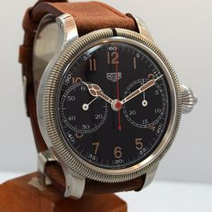 Vintage Heuer Monopoussoir 2 Register One Button Chronograph Re-Cased in Newer Case RARE watch with Black Dial with Brown Luminous Arabic Markers. Swiss Case Very Good Case Original, Original B Vintage Tags, Vintage Men, Armani Watches For Men, Beautiful Watches, Vintage Handbags, Vintage Watches, Cool Watches, Retro, Chronograph