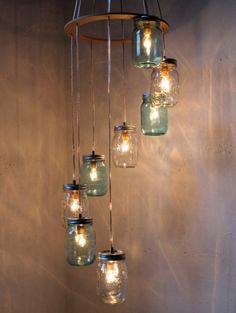 10 Cool Modern Mason Jar Lights & Be Creative! The post 10 Cool Modern Mason Jar Lights & Be Creative! appeared first on Suggestions. Mason Jar Chandelier, Mason Jar Lighting, Mason Jar Lamp, Diy Chandelier, Chandelier Wedding, Outdoor Chandelier, Chandeliers, Hula Hoop Chandelier, Pot Mason