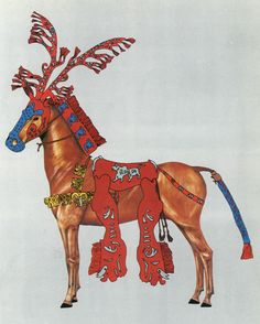 Bensozia: Horses of the ancient Scythian Kings.  They wore elaborate gear, including artificial antlers.