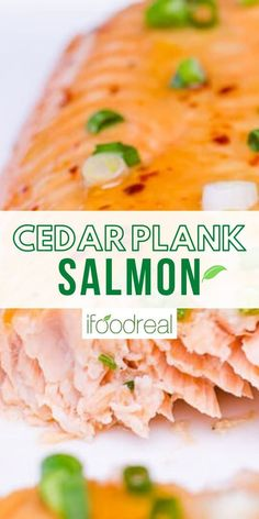 This easy Cedar Plank Salmon comes out juicy with a caramelized Thai sweet chili sauce on top and an incredible woodsy flavor. This grilled salmon recipe will blow everyones mind! The Best Grilled Salmon Recipe Ever, Grilled Salmon Recipes, Delicious Crockpot Recipes, Cedar Plank Salmon, Real Food Recipes, Cooking Recipes, Thai Sweet Chili Sauce, Honey Bbq, Food Website