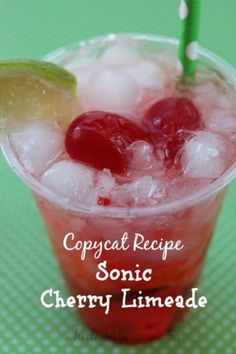 Limeade {Copycat Recipe} - Wheel N Deal Mama - Do you love Sonic's classic Cherry Limeade? Th -Sonic Cherry Limeade {Copycat Recipe} - Wheel N Deal Mama - Do you love Sonic's classic Cherry L.Cherry L Summer Drinks, Fun Drinks, Beverages, Sonic Drinks, Refreshing Drinks, Kfc, Chipotle, Sonic Cherry Limeade, Sonic Diet Cherry Limeade Recipe