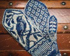 Crochet Patterns Diagram PDF Knitting Pattern Songbird Mittens by EricaHeusserDesigns Cast On Knitting, Fair Isle Knitting, Knitting Charts, Knitting Patterns, Crochet Patterns, Knitting Machine, Free Knitting, Stitch Patterns, Vintage Knitting