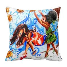 Best Friends Pillow Throw Pillows- African American and Mexican little girls who are best friends playing outdoors.  When one little girl loses her dollar bill the other little girl tries to help her recover it.  Part of a complete collection of products for a girls room  The perfect illustration of true friendship that starts at a early age and potentially lasts a lifetime. Throw pillow wind and leaves blowing.  Red, blue, yellow, green gold, black and brown.  Two girls in dresses.