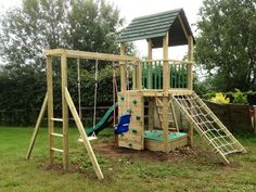 Treetops tower wooden climbing frame with monkey bars and swings