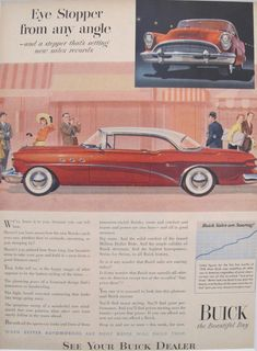 "1950s Matted American Car Advertisement, Buick. A fabulous lithographic car advertisement printed in the 1950s and extolling the advantages of owning a Buick as ""the beauty and the buy of the year- and the car that 'puts you way ahead at trade-in-time'."""