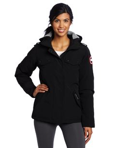 Canada Goose Women's Burnett Parka (Black, Large). Slim Tailored Fit. Hip-length for mobility and moderate protection from the cold. Removable black Polartec Powershield O2 soft shell hood for style with protection again unexpected weather conditions. Recessed heavy-duty, rib-knit cuffs keep out the cold.