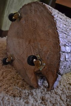 Rustic End Table - Log + Wheels