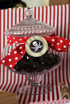 Awesome candy jars at a Pirate Party!  See more party ideas at CatchMyParty.com!  #partyideas #pirate