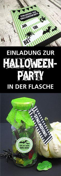 Einladung zur Halloween-Party in der Flasche mit #Freebie zum Runterladen…