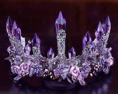 Purple Temptress Tiara - My Essential Planet Cute Jewelry, Hair Jewelry, Wedding Jewelry, Gold Jewellery, Glass Jewelry, Fashion Jewelry, Queens Tiaras, Wedding Headdress, Mermaid Crown