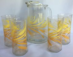 VTG Libbeys Golden Wheat Pattern Water Pitcher And 4 Glasses Tumbler Ice Lip Jug…