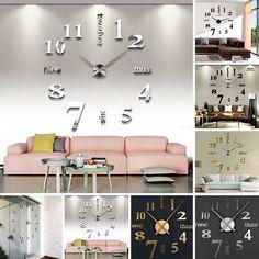 Modern Diy Large Wall Clock 3D Mirror Surface Sticker Home Office Room Decor
