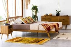 Inspired by the clean lines and simplistic design of vintage mid-century furniture, the Fifties Platform Bed - Danish Honey will add ample character and charm to any bedroom. Rustic Platform Bed, Platform Bed Sets, Upholstered Platform Bed, Bedroom Sets, Bedding Sets, Bedroom Decor, Modern Bedroom, Danish Bedroom, Modern Beds
