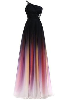 Amazon.com: HTYS 2016 Gradient Color Prom Evening Dress Beaded Ball Gown HY074: Clothing