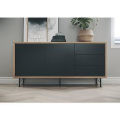 Give your living room a stylish look with the dresser Flow by Tenzo! This Scandinavian sideboard has a slim wooden frame with black fronts and small metal legs. Sideboard Furniture, Diy Furniture, Modern Furniture, Furniture Design, Furniture Movers, Sideboard Buffet, Credenza, Living Room Designs, Living Room Decor