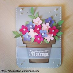 Muttertagskarte Birthday Presents For Mom, Handmade Birthday Cards, Happy Birthday Cards, Diy Arts And Crafts, Crafts For Kids, Pop Up Flower Cards, Diy Mothers Day Gifts, Paper Cards, Kids Cards