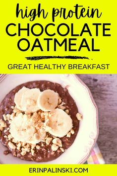 This high protein chocolate oatmeal is one of my favorite healthy breakfast recipes!  You only need 5 ingredients to make this nutrient-packed breakfast - plus an optional banana for topping in the morning of course!  Definitely try this soon!