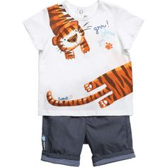 Catimini baby boys t-shirt with shorts made from a soft cotton. #tigrou #newborn