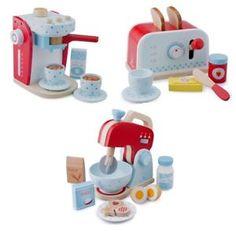 Kaffeemaschine Toaster Mixer Frühstücksset mit Zubehör aus Holz Spielzeug   | eBay